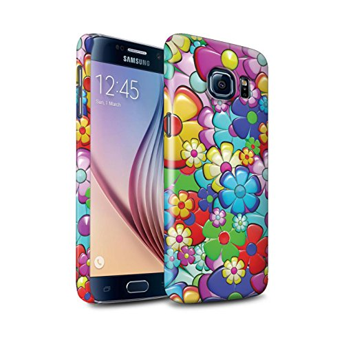 STUFF4 Gloss Hard Back Snap-On Phone Case for Samsung Galaxy S6/G920/Vibrant Flower Power Design/Hippie Hipster Art Collection