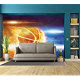 Large Wall Mural Sticker [ Basketball,Abstract Sports Background Burning Basketball with Digital Reflection Art Print,Blue Yellow ] Self-Adhesive Vinyl Wallpaper/Removable Modern Decorating Wall Art