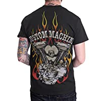 Knucklehead Custom Engine Motorcycle Biker Men T Shirt Shortsleeve Black