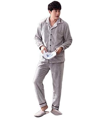 Pijamas de hombres, trajes de servicio a domicilio para hombres (Color : Gray,
