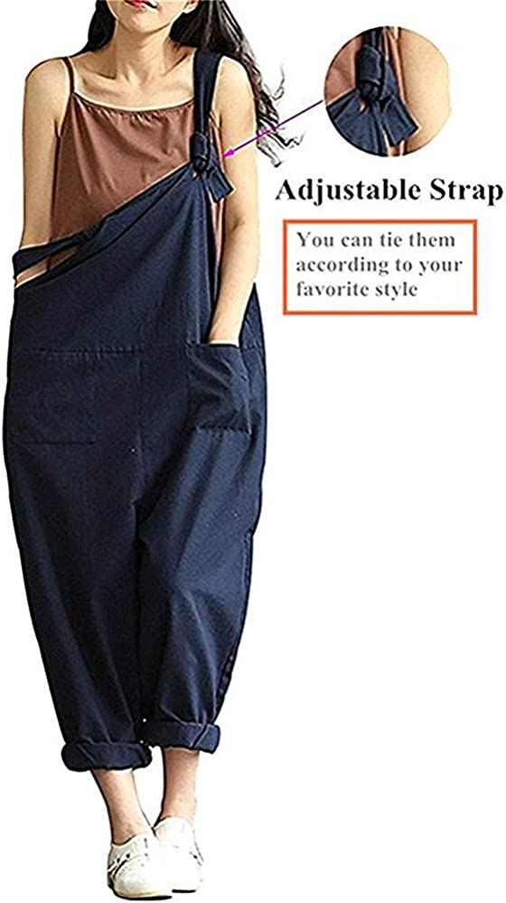 weite Beine /ärmelloser Jumpsuit /Übergr/ö/ße Leinen Baggy l/ässig Sobrisah Damen-Overall Latzhose verstellbarer Tr/äger