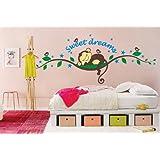 Stickers muraux singes sur la vigne doux rêve avec des étoiles pour Chambre Nursery Gr . 25 * 70 CM