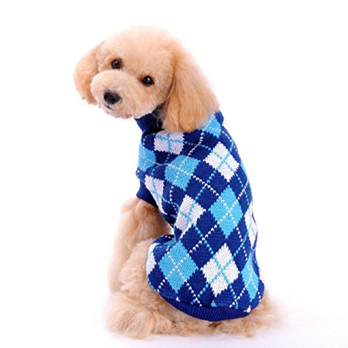 Malloom New Winter Plaid Sweater Coat Puppy Dogs Cat Clothes Costume Knitwear...