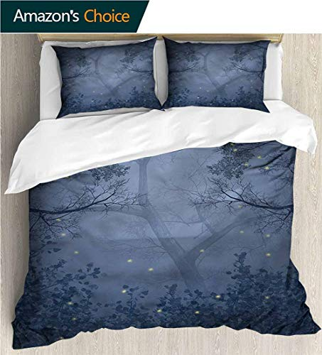Full Queen Duvet Cover Sets,Box Stitched,Soft,Breathable,Hypoallergenic,Fade Resistant 100% Cotton Reversible 3 Pieces Kids Girls Boys Bedding Sets-Mystic Forest Dragonflies Branches (90