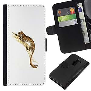 Be-Star la tarjeta de Crédito Slots PU Funda de cuero Monedero caso cubierta de piel Para LG G2 D800 ( Long Tail Animal Forest Brown Tree Cute Cat )