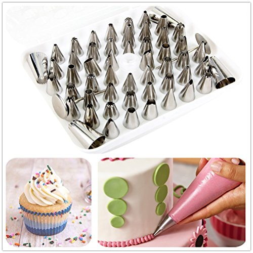 52-piece DIY Icing Tips Nozzles Cookie Sugarcraft Cake Decorating Supplies Tool Set