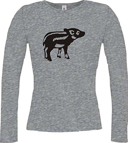 Shirtstown - Camiseta de manga larga - Manga Larga - para mujer Deporte Gris