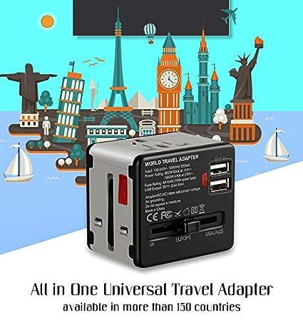 Adaptadores Internacionales con 2 USB para Americano Europeo Ingles Jap/ón Chino Acerca de 150 Pa/íses 100v-240v 6A Etlephe Enchufe Adaptador Universal de Viaje