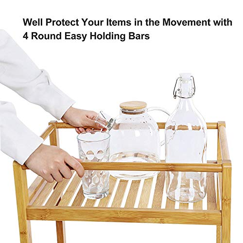 Trustiwood Bathroom Storage Cart Serving Bar Cart Utility Trolley Organizer Rack with 3 Shelves and Locking Wheels for Kitchen Living Room Bamboo Wood by Trustiwood (Image #5)