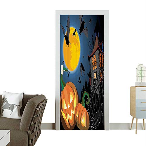 Door Sticker WallpaperGothic e with Halloween Haunted House Party Theme Trick or Treat Fashion and Various patternW31 x H79 INCH -