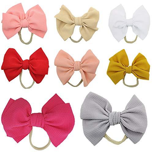 Baby Girl Bow Headbands Newborn Hairband Baby Turban Knotted Headband Nylon Elastic Headwraps for Children Hair Accessories (BOW06-8PCS) ()