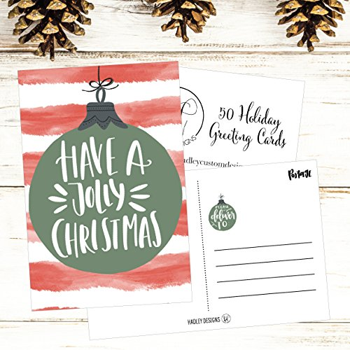 50 Red & Green Holiday Greeting Cards, Cute Fancy Blank Winter Christmas Postcard Set, Bulk Pack of Premium Seasons Greetings Note, Happy New Years for Kids, Business Office or Church Thank You Notes Photo #3