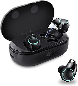 Auriculares de diadema con Bluetooth 4.2, ligeros, IPX5, impermeables, inalámbricos, estéreo con micrófono, para iPhone, Samsung, etc. con caja de carga, de meilun Truly Wireless: Amazon.es: Electrónica