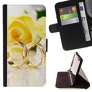 For LG G3 Case , Un par de anillos de oro- la tarjeta de Crédito Slots PU Funda de cuero Monedero caso cubierta de piel