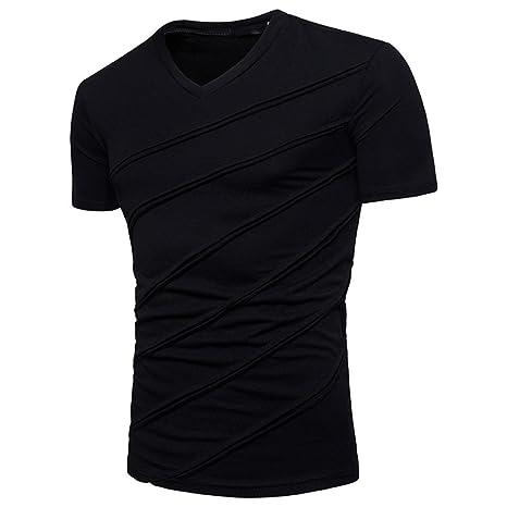 Yvelands Handsome T-Shirt Personalidad de la Moda para Hombres Casual Sólido Sólido Camiseta de Manga Corta Top Blusa Vacaciones de Verano de la Boda, ...