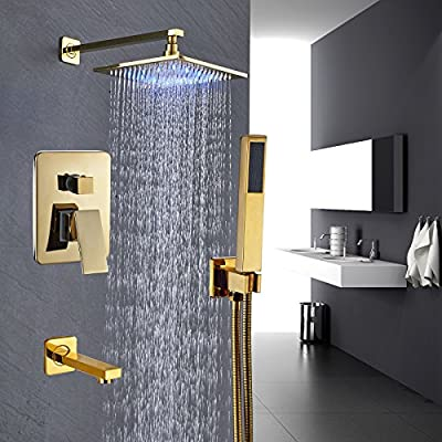 Rozin Gold Polished 3-way Mixer Control LED Light 10-inch Rainfall Showerhead Set Tub Tap with Hand Spray