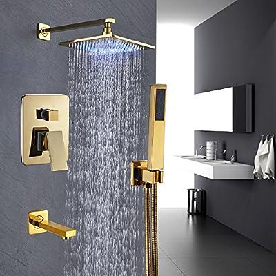 Rozin Gold Polished 3-way Mixer Control LED Light 10-inch Rainfall Showerhead Set Tub Tap with Hand Spray