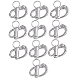 Mxfans 10pieces 304 Stainless 3.5cm Rigging Sailing Fixed Bail Snap Shackle Hard Silver