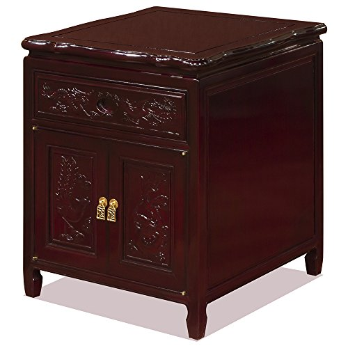 Rosewood Furniture China (China Furniture Online Rosewood Night Stand, Hand Carved Dragon and Phoenix Motif Lamp Table Dark Cherry Finish)