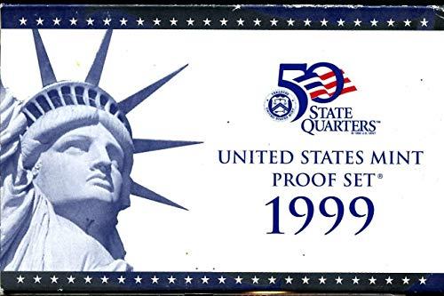 (1999 S Gem 9-Piece Proof Set Penny, Nickel, Dime, Quarter, Half with 5 State Quarters OGP - Excellent Proof Coins US Mint)