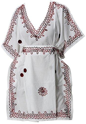 La Leela cubierta blanca viscosa bordada rayón nadar hasta la playa caftán mujeres blusa superior túnica de la manga casquillo