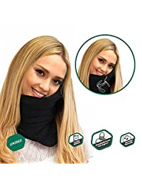 The Super Soft, Compact Trident Travel Pillow - Scientifically Designed for Comfort and Optimal Head & Neck Support - Perfect for Air, Car, Train and Bus Travel - Black