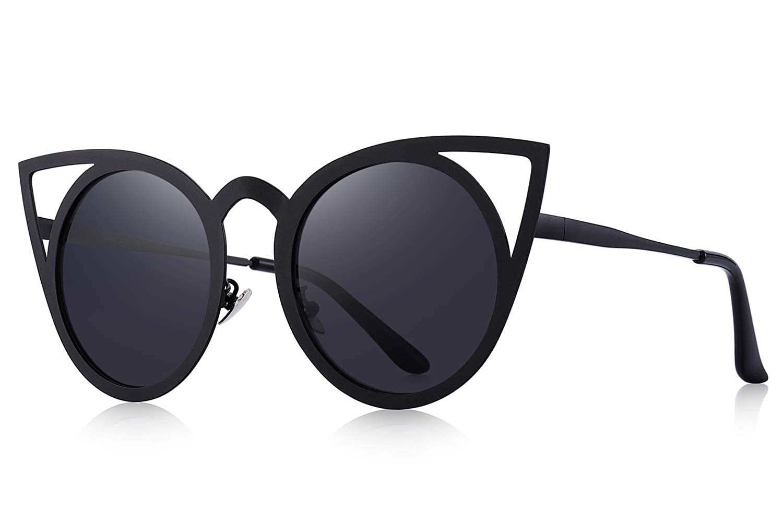 462301e9be062 Amazon.com  MERRY S Cat Eye Sunglasses Round Metal Cut-Out Flash Mirror  Lens Metal Frame Sun glasses S8064 (Black