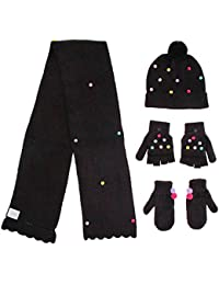 Girls Pom Hat and Scarf with Mittens and Popover Gloves 4 Piece Set