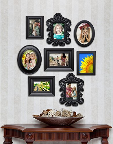 8 Piece Contemporary Black Picture Frame Set