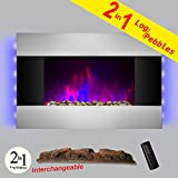 AKDY 36 inch Wall Mount Modern Space Heater Electric Fireplace Tempered Glass W/Remote Control