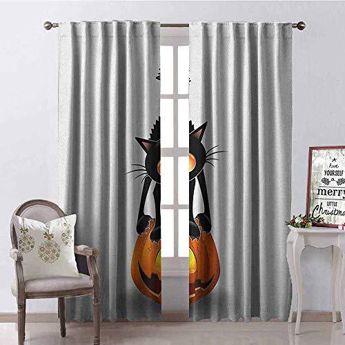 GloriaJohnson Halloween 99% Blackout Curtains Black Cat on Pumpkin Drawing Spooky Cartoon Characters Halloween Humor Art for Bedroom- Kindergarten- Living Room W52 x L84 Inch Orange Black -