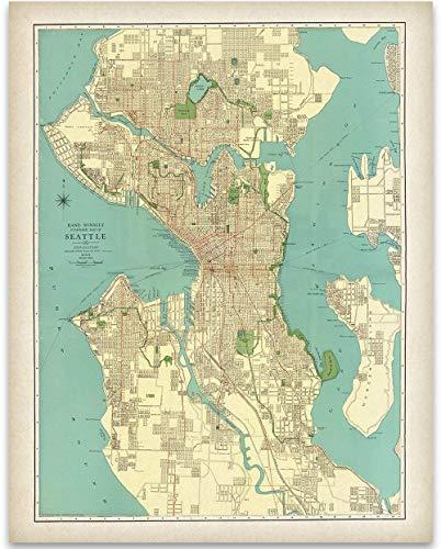 1920 Seattle Map - 11x14 Unframed Art Print - Great Vintage Home Decor Under ()
