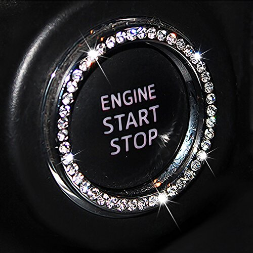 (Auto Bling Crystal Ring Emblem Sticker Rhinestone Car Key Knob Interior Bling Push Button Start Engine Ignition Button Auto Decoration Decal Unique Sparkly Vehicle Rings Accessories)
