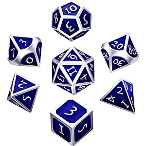 Hestya 7 Pieces Metal Dices Set DND Game Polyhedral Solid Metal D&D Dice Set with Storage Bag and Zinc Alloy with Enamel for Role Playing Game Dungeons and Dragons, Math Teaching (Silver Edge Blue)