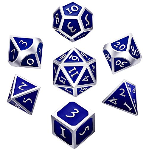 Hestya 7 Pieces Metal Dices Set DND Game Polyhedral Solid Metal D&D Dice Set with Storage Bag and Zinc Alloy with Enamel for Role Playing Game Dungeons and Dragons (Silver Edge Blue)