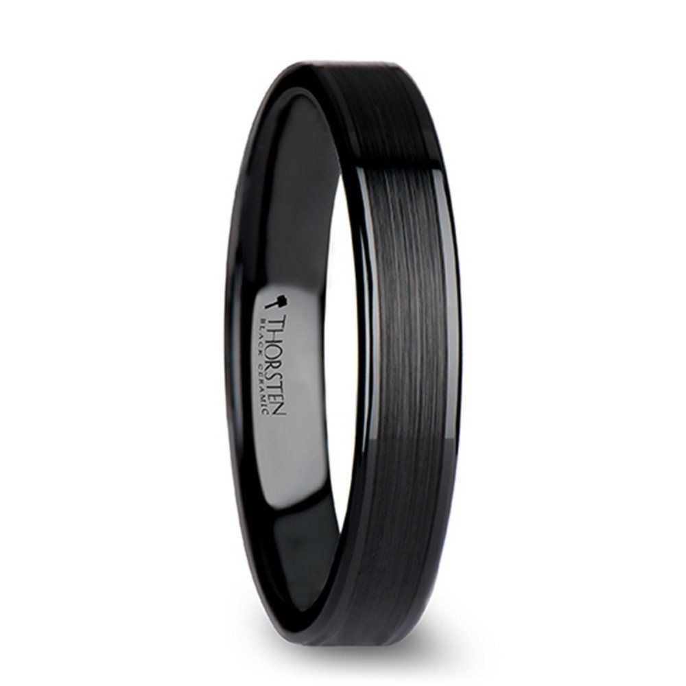 Thorsten Octavius Flat Black Ceramic Ring Wedding Band with Brushed Texture Center Polished Edges 4mm Width from Roy Rose Jewelry