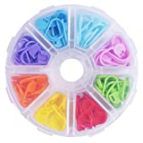 Outus 104 Pieces Locking Stitch Markers Knitting Stitch Counter Multi-Colored Crochet Stitch Needle Clip with Compartment Box