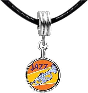 Chicforest Silver Plated Music Jazz Instrument Photo Light Rose Crystal October Birthstone Flower dangle Charm Beads Bracelets Fits Pandora Charm
