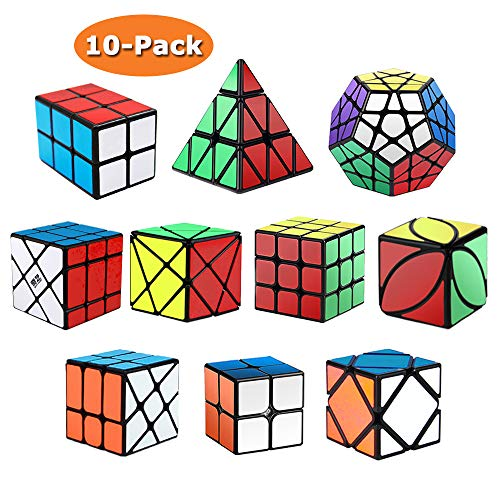 Roxenda Speed Cubes, [10 Pack] Speed Cube Set - 2x2x2 3x3x3 2x2x3 Skew Axis Windmill Fisher Megaminx Pyramid Ivy Cube Smooth Magic Cubes Puzzles Collection ()