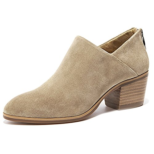 Tobillo Occidental Beige Suede Odema Stacked Heel Puntius Back Toe Mujeres Bootie Zipper Tx6Oqz