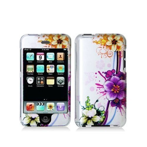 Ipod 3g Hard Skin (Purple Flower Design Hard Skin Case Cover for Apple Ipod Touch iTouch 2nd and 3rd Generation Gen 2g 3g 2 3 8gb 16gb 32gb 64gb)