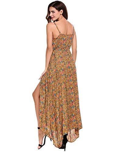 Women's ACEVOG Flowy Print Dress Maxi Floral Split Blackless Strap Sundress Button Yellow up 1rq8pdr