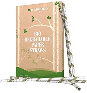 Tranquilo Biodegradable Paper Straws - Gold (Box of 100)