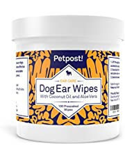 Petpost | Dog Ear Cleaner Wipes - 100 Ultra Soft Cotton Pads in Coconut Oil Aloe Solution - Remedy for Dog Ear Mites & Dog Ear Infections