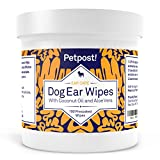 Image of Petpost | Dog Ear Cleaner Wipes - 100 Ultra Soft Cotton Pads in Coconut Oil Solution - Dog Ear Mites & Dog Ear Infections