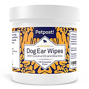 Petpost   Dog Ear Cleaner Wipes - 100 Ultra Soft Cotton Pads in Coconut Oil Aloe Solution - Remedy for Dog Ear Mites & Dog Ear Infections