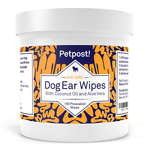Petpost | Dog and Cat Ear Cleaner Wipes - 100 Ultra Soft Cotton Pads in Coconut Oil Solution - Treatment for Pet Ear Mites & Pet Ear Infections (Dog Ear Wipes)