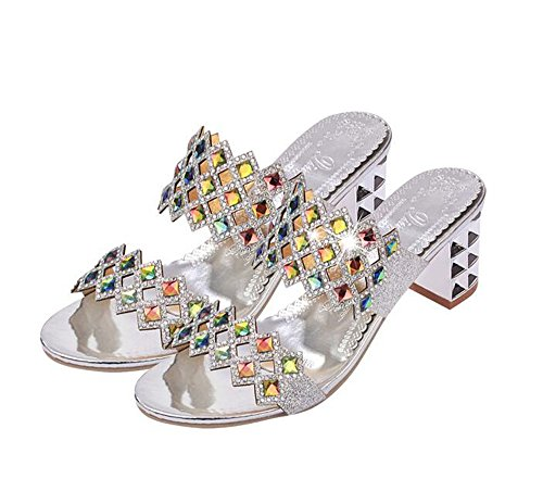 Heel Sandals Slide Block Everyday Sandal Queena Shoe Trendy Comfortable Sliver Heel Slip Slipper Wheeler On High w0qOI0