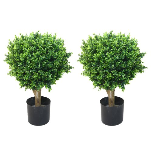Pure Garden Artificial Hedyotis Tree -Large Faux Potted Topiary Plant – UV Resistant Indoor Outdoor Décor for Home or Office (Set of 2)