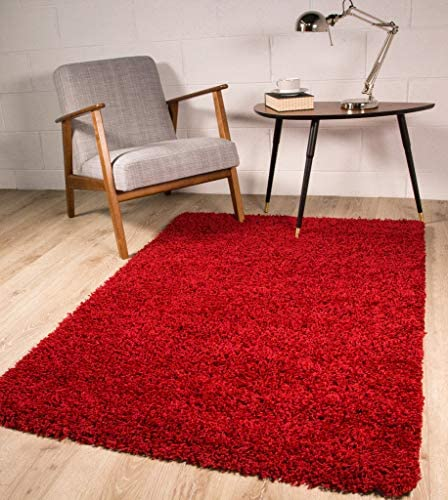 Ontario Soft Pile Anti Shedding Wine Red Shaggy Shag Area Rug